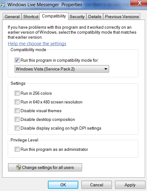 Live Messenger Compatibility Mode