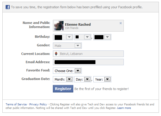 Facebook Registration Plugin Pre-filled