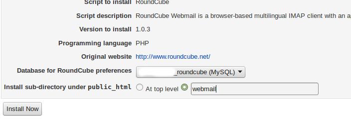 Configuring Roundcube in Virtualmin